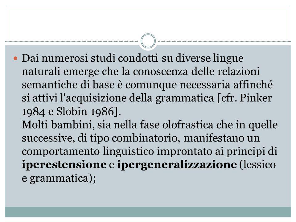 Dai numerosi studi condotti su diverse lingue naturali emerge che la conoscenza delle relazioni semantiche di base è comunque necessaria affinché si attivi l acquisizione della grammatica [cfr.